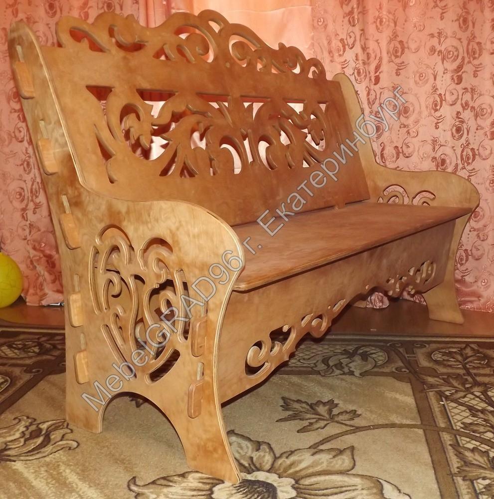 Резная скамейка из дерева своими руками 83